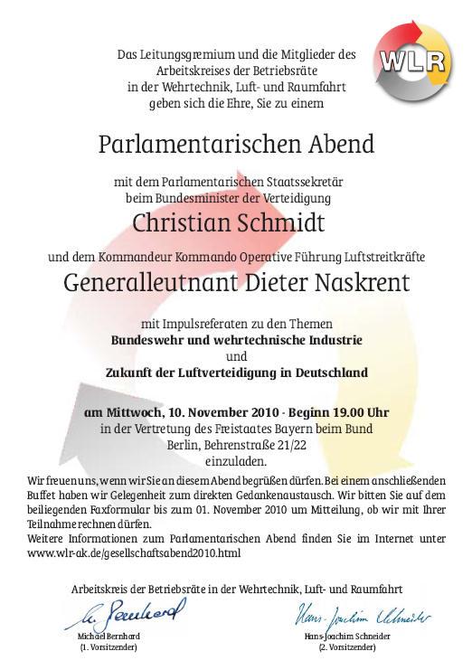 Enladung Parlamentarischer Abend 2010