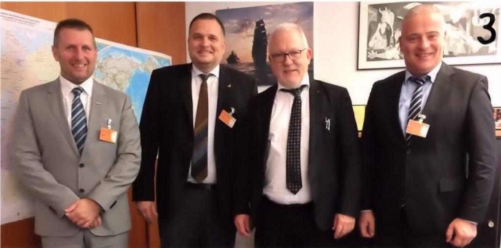 v.l. Alexander Heiling (WLR), Uwe Kess (WLR), Wolfgang Hellmich (MdB), Udo Bergmann (WLR)