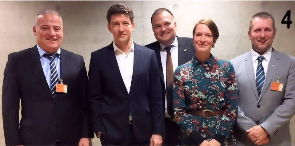 v. l. Udo Bergmann (WLR), Michael Leutert (MdB), Uwe Kess (WLR), Christin Löchner (Wissenschaftliche Mitarbeiterin), Alexander Heiling (WLR)